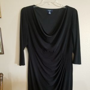 Chaps Black Drape Neck Cocktail Dress